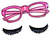 Pink Glasses false eyelashes illustration. Illustration on white of pink eyeglasses and false eyelashes Royalty Free Stock Image