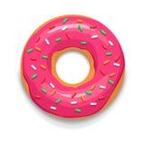 Pink glazed donut icon, cartoon style. Pink glazed donut icon in cartoon style on a white background Stock Photos