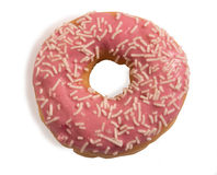 Pink glazed donut with white sprinkles isolated on white background Royalty Free Stock Photos