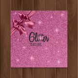Pink, glitter background with realistic bow. Vector illustration Stock Photo
