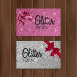 Pink, glitter background with realistic bow. Vector illustration Royalty Free Stock Images