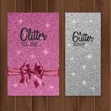 Pink, glitter background with realistic bow. Vector illustration Royalty Free Stock Photos
