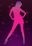 Pink glitter dico girl Royalty Free Stock Photos