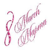 Pink glitter 8 march women`s day background greeting card. For your decoration Royalty Free Stock Photo