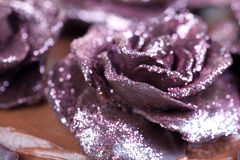 Pink glitter roses. Pink glitter chocolate roses on the cake Royalty Free Stock Photo