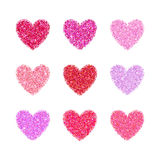Pink Glitter Valentine Day Heart Shape. Vector Background For Wedding Invitation, Greeting Card. Glamorous Sparkling Stock Photo