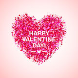 Pink Glitter Valentine Day Heart Shape. Vector Background For Wedding Invitation, Greeting Card. Glamorous Sparkling Royalty Free Stock Photos