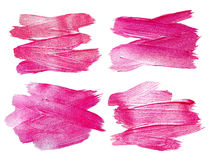 Pink Glitter Watercolor Texture Paint Stain Abstract Illustration Set. Shining brush stroke for you amazing design project Royalty Free Stock Image