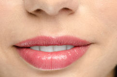 Pink gloss lips Royalty Free Stock Photos