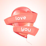 Pink glossy balloon and ribbon with word love. Happy Valentine day greeting card Stock Images
