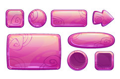 Pink glossy game assets set. On white, different shape buttons and panels for game or web design, vector gui elements royalty free illustration