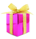 Pink glossy gift wrapped present with golden bow Stock Images