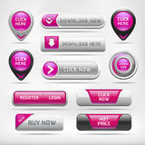 Pink Glossy Web Elements Button. Stock Photo
