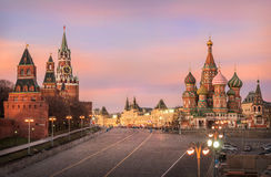 Pink glow of sunset sky. Over Moscow Kremlin and St. Basil's Cathedral Royalty Free Stock Photo