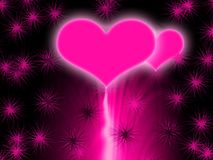Pink glowing hearts Stock Photo