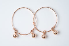 Pink gold anklet for baby Royalty Free Stock Photos