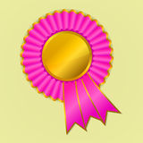 Pink and gold award ribbon rosette on yellow backg Stock Photography