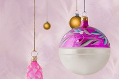 Pink And Gold Christmas Baubles Stock Photography