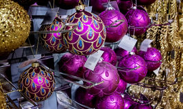 Pink and gold Christmas decorations Stock Photography