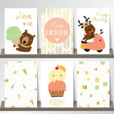 Pink gold collection for banners,Flyers,Placards. With ice cream,bear on motercycle Stock Images