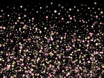 Pink gold confetti circle decoration. For Christmas poster background. Bokeh lights effect vector. Gold, pink and rose color round confetti dots, circles royalty free illustration