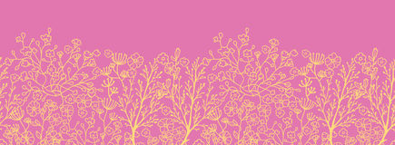 Pink and gold florals horizontal seamless pattern background border Royalty Free Stock Images