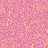 Pink and gold florals seamless pattern background Stock Image