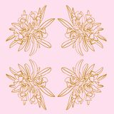 Pink and Gold French Toile Floral Seamless Repeat Pattern Print Vector vector illustration