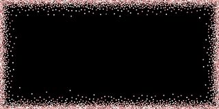 Pink gold glitter luxury sparkling confetti. Scatt. Ered small gold particles on black background. Bold festive overlay template. Marvelous vector illustration stock illustration