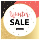 Sale banner template design. Elegant design Pink, gold and Black. Vector design Royalty Free Stock Photos