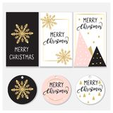 Christmas tags and cards design. Elegant design: Pink, gold and Black. Vector design Royalty Free Stock Photo