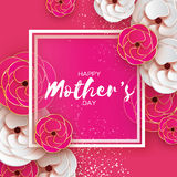 Pink Gold Happy Mothers Day Greeting card. Women`s Day. Paper cut flower. Origami Beautiful bouquet. Square frame. text. Royalty Free Stock Photo