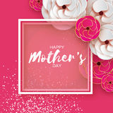 Pink Gold Happy Mothers Day Greeting card. Women`s Day. Paper cut flower. Origami Beautiful bouquet. Square frame. text. Royalty Free Stock Images