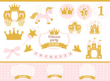 Pink and gold princess party decor. Cute happy birthday card template elements. Stock Photos