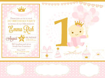 Pink and gold princess party decor. Cute happy birthday card template elements. Royalty Free Stock Photo
