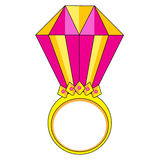 Pink gold ring with diamond vector illustration Stock Photo