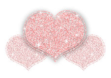 Pink Gold Shining Glitter Heart. For a Valentine Day on White Background. Can be used for Love Letter, Card, Valentines day Celebration, design, etc Stock Photos