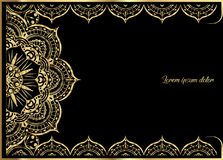Pink Gold vintage greeting card on black background. Luxury ornament template. Great for invitation, flyer, menu, brochure