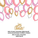 Pink and golden balloons. Vector celebration background. Party illustration Royalty Free Illustration