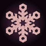 Pink golden glitter admirable snowflake. Stock Photo