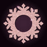 Pink golden glitter adorable snowflake. Stock Photography