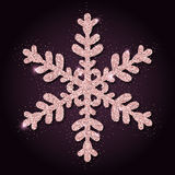 Pink golden glitter alluring snowflake. Luxurious christmas design element, vector illustration Stock Photo