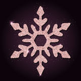 Pink golden glitter appealing snowflake. Luxurious christmas design element, vector illustration Royalty Free Stock Photography