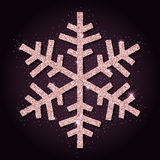 Pink golden glitter beauteous snowflake. Royalty Free Stock Images