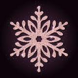Pink golden glitter breathtaking snowflake. Luxurious christmas design element, vector illustration Stock Images