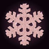Pink golden glitter comely snowflake. Stock Image