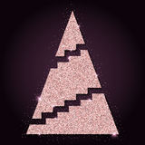 Pink golden glitter cool christmas tree. Stock Photography