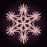 Pink golden glitter delightful snowflake. Luxurious christmas design element, vector illustration Royalty Free Stock Image