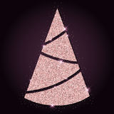 Pink golden glitter good-looking christmas tree. Royalty Free Stock Photos