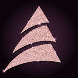 Pink golden glitter graceful christmas tree. Royalty Free Stock Images